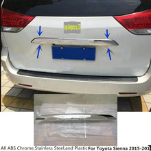 Free shipping car styling panel ABS chrome Rear door trunk tailgate frame plate trim lamp 1pcs For Toyota Sienna 2015 2016 2017