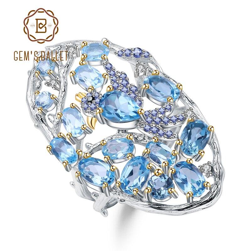 GEM'S バレエ 6.12Ct ナチュラルスイスブルートパーズ指リング 925 スターリングシルバー手作り中空要素女性ファインジュエリー  グループ上の ジュエリー & アクセサリー からの 指輪 の中 1