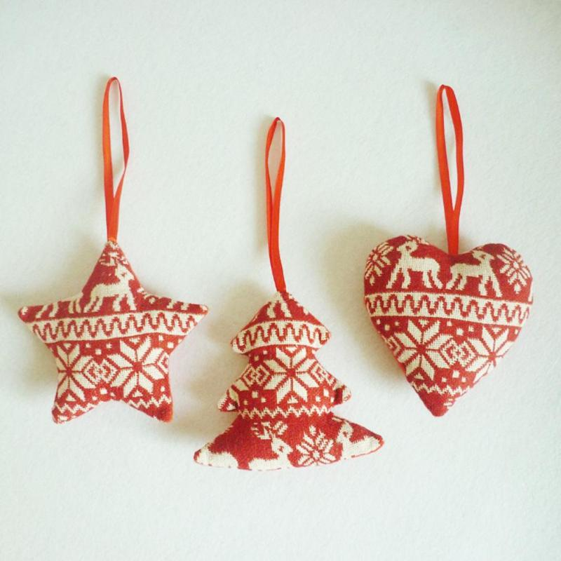 Hot Sale 1Pc Christmas Tree Ornaments Linen Red Heart Tree Star Home ...