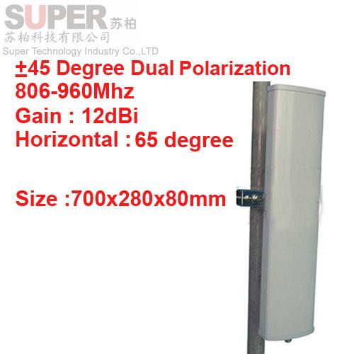 12 dbi 45 y - 45 degree polarización dual 65 degree 806 - 960 Mhz Panel antena GSM estación Base utiliza CDMA antena GSM FDD antena LTE