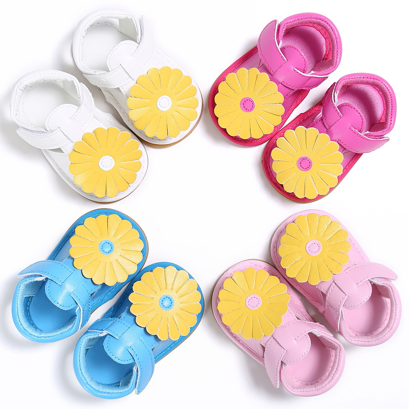 2020 New Designs Big Flower Pu Leather Baby Child Summer Girls Boys Shoes Infant First Walkers Shoes 0-18 M Sandals