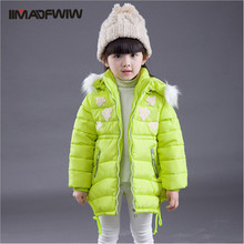 2015 зима девочка вниз парка пальто ватные ватные куртки симпатичные принцесса характер капюшоном теплая верхняя одежда высокое качество девушка пальто