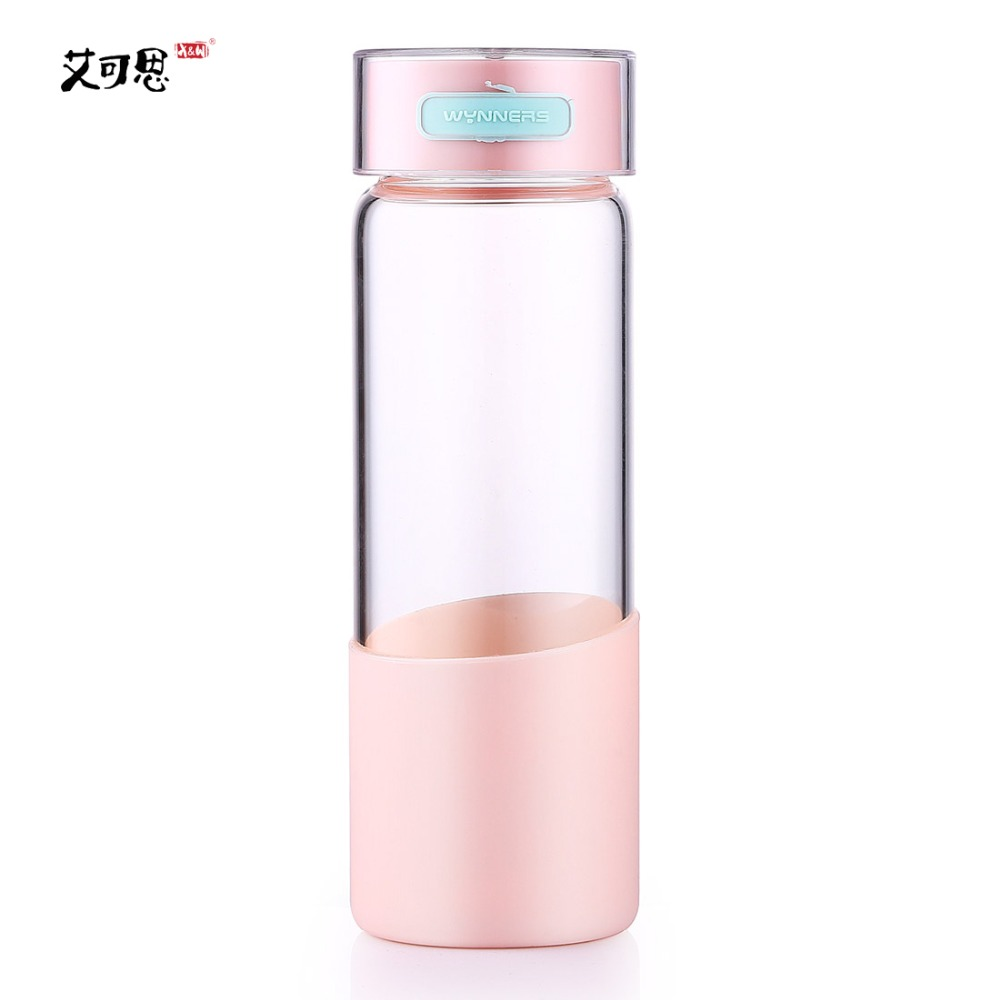 X&W 500ml Glass Water Bottle Drinking Tumbler With Lid High Quality Leak Proof Brief My Bottle For Hiking Self-driving Travel