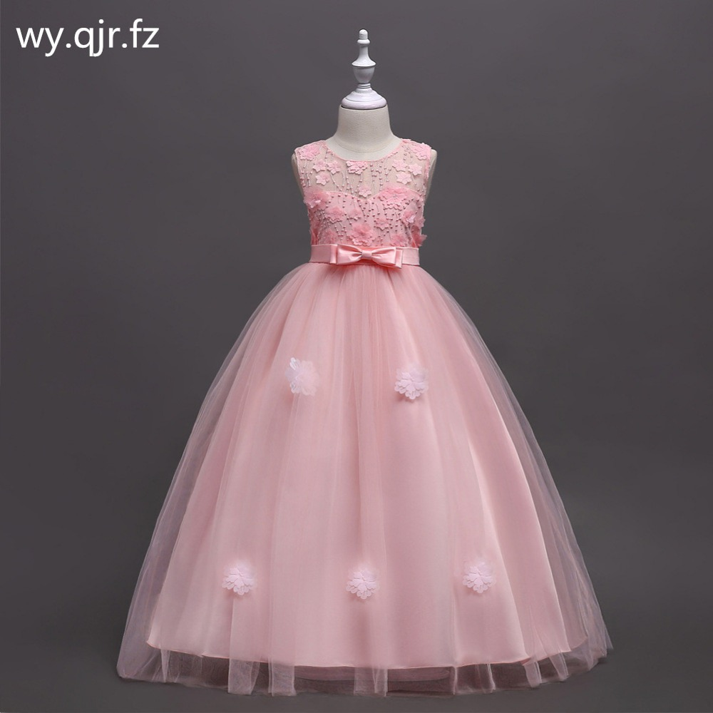 BH591F#Pink Bubble skirt Princess performance   Flower     Girl     Dresses   long wedding party prom   dress   wholesale children's clothes
