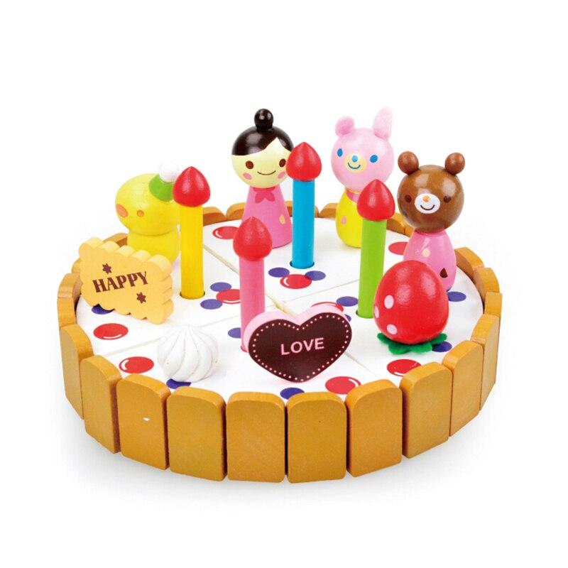 Toddler Wooden Pretend Play Kitchen Toys Wood DIY Cutting Birthday Cake Simulation Little Girl Bear Toys Baby Kitchen Restaurant