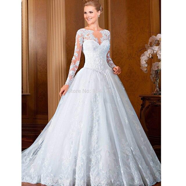 Langen Ärmeln Prinzessin Hochzeitskleid Spitze Appliqued Bodenlangen ...