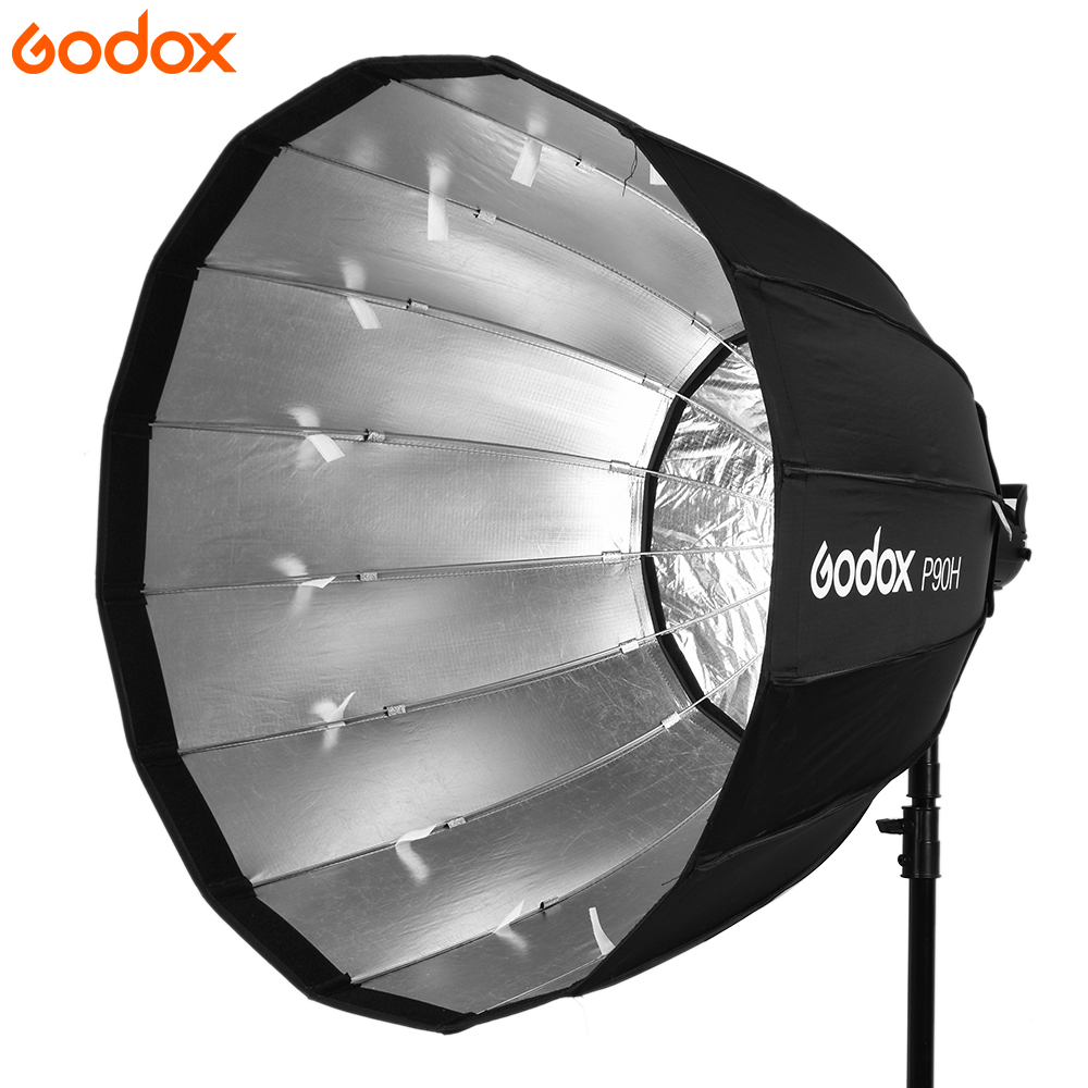 Godox Portable P90L 90CM Deep Parabolic Softbox Bowens Mount Studio Flash Speedlite Reflector Photo Studio SoftboxGodox Portable P90L 90CM Deep Parabolic Softbox Bowens Mount Studio Flash Speedlite Reflector Photo Studio Softbox
