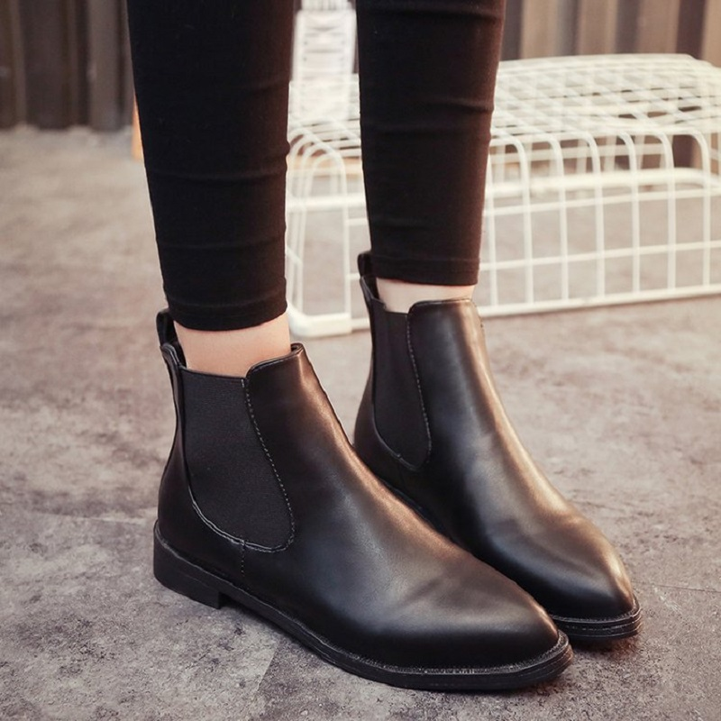 dwayne  boots women winter new British wind students Korean version of the flat plus cashmere boots