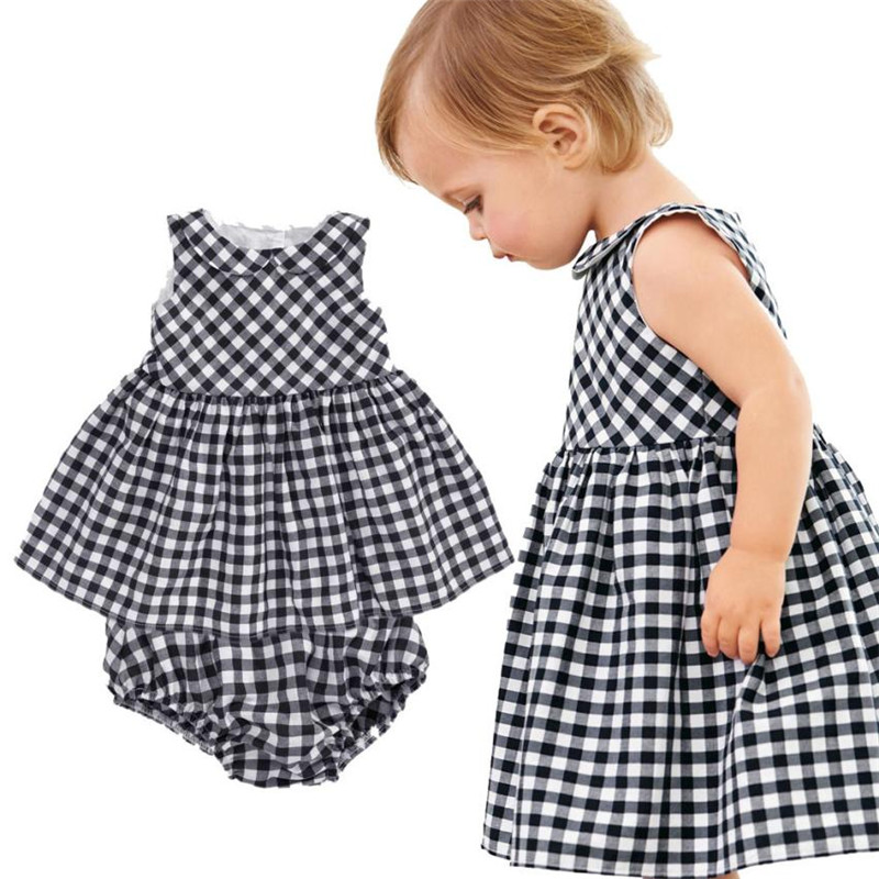 Hot Sale Toddler Kids Baby Girls Clothes Outfit Clothes Doll Collar Plaid Dress+Short Pants Sets of clothes for girls