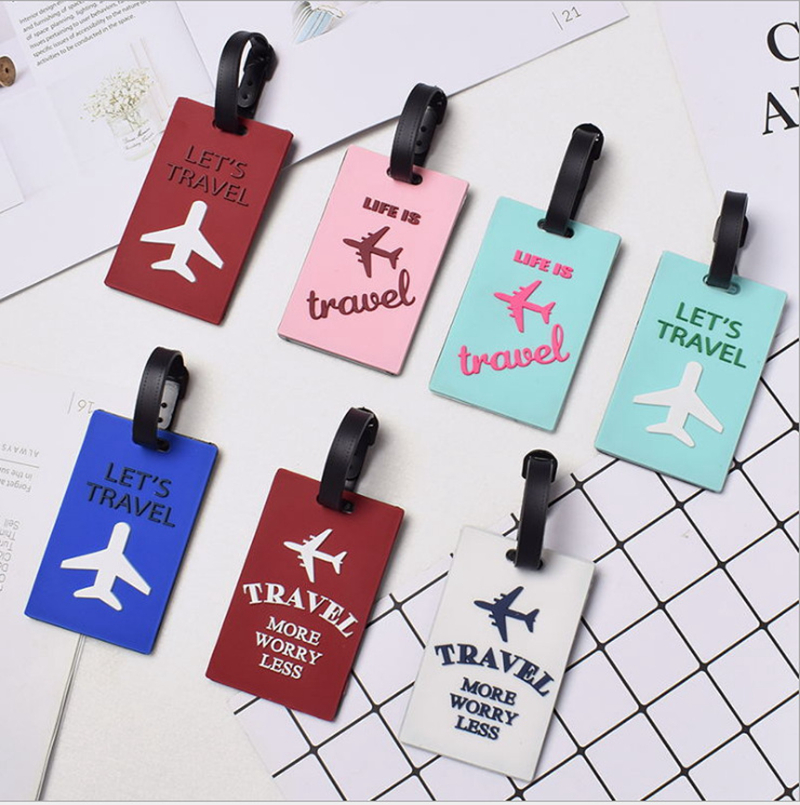 Travel Accessories Luggage Tag Fashion Aircraft Letter Silica Gel Suitcase ID Address Holder Baggage Boarding Tag Portable Label