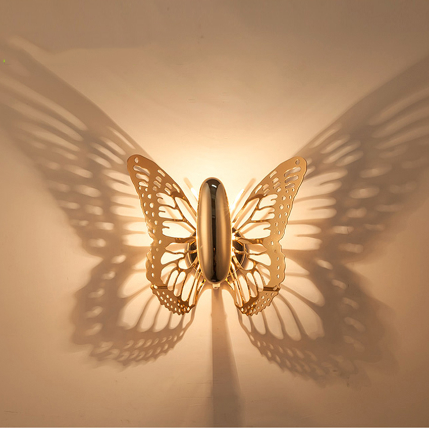 Creative LED Wall Lamp Butterfly Lampshade Projection Shadow Wall Lights Gold Butterfly Wall Sconce for Home Cafe Sconce Fixture beiaidi e14 creative led wall lamp flower lampshade projection shadow wall light nordic acrylic wall art home decor ornament