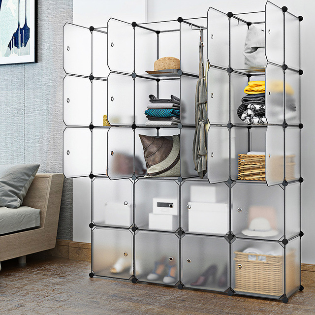 20 Cubes Interlocking Modular Storage Organizer Shelving Closet Wardrobes Rack With Doors For Home Clothes Shoes Toys
