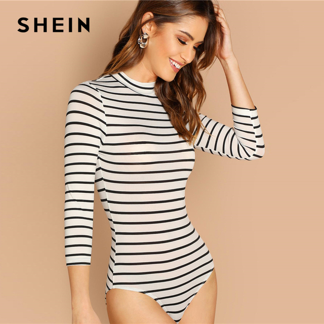 SHEIN White Casual Basic Mock Neck Striped 3/4 Sleeve Skinny Mid Waist Bodysuit Autumn Workwear Women Bodysuits 1
