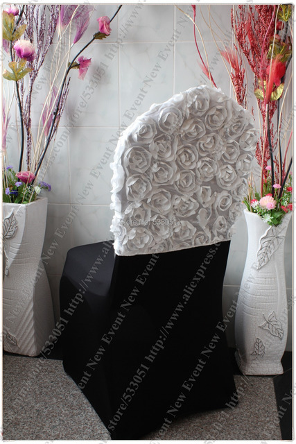 white 3d big rosette top chair cap chair chair cover
