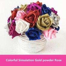 50PCS Glitter Powder Artificial Rose Flowers For Wedding Car Decorative wedding DIY golden powder simulation flower decor