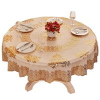 Household Plastic Tablecloth Hotel Waterproof Tablecloth Home Dinner Oilproof Desk Cover Beautiful Gilt PVC Tablecloth
