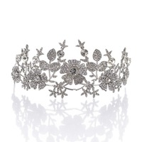 Remedios Vintage Floral Design Rhinestone Wedding Crown Tiara Pageant Princess Headband Headpiece