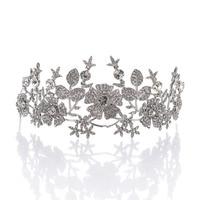 Remedios Vintage Floral Design Rhinestone Wedding Crown Tiara Pageant Princess Headband Headpiece