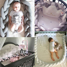 Crib Sides Bumper 3M Long Baby Bed Knot Protector Handmade Braid Plush Baby Bed Fence Bumper Infant  Pillow Baby Room Decor все цены