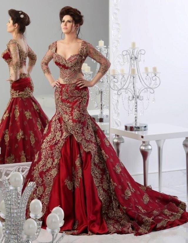 2015 Gelin Elbisesi tunisie rouge deux pièces robes de mariée turquie Sexy gothique robes de mariée avec manches robe de Novia V..