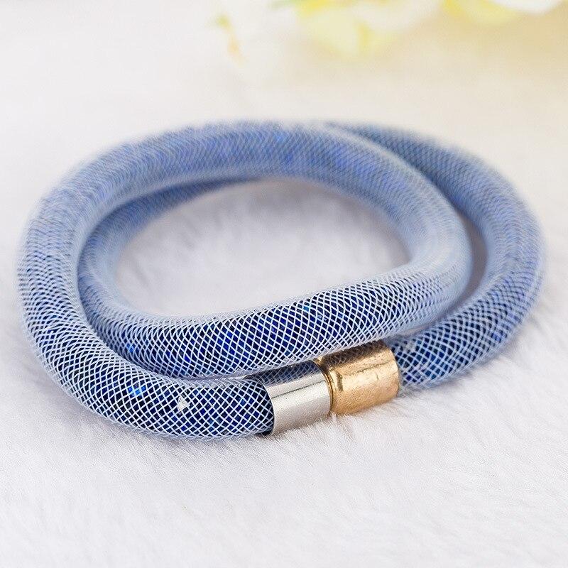 Kejialai Double Net Multicolor Mesh Crystal Bracelet Tiny Resin Crystal Filled Magnetic Wrap Bracelet For Women Bracelet KJL016