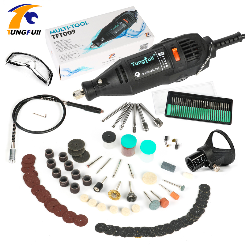 Tungfull 130W Dremel Style Electric Rotary Tool Variable Speed Mini Drill with Flexible Shaft 151PC Accessories Power Tools tasp 220v 130w electric dremel rotary tool variable speed mini drill with flexible shaft and 175pc accessories storage bag