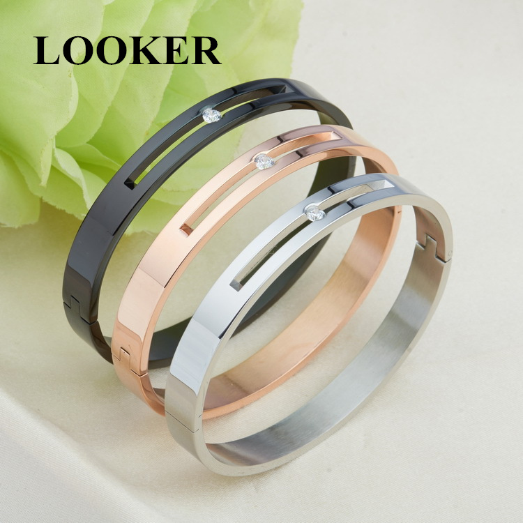 2019 Rose Gold Color Hollow Crystal Stainless Steel Love Men Women Carter Bangle CC Cuff Bracelet Valentine