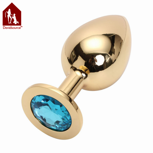 Davidsource Jeweled Metal Golden Butt Plug L Size 100mm Long 39mm Wide Jewelry Anus Toy For Anal Sex Receiver Women Men Sex Toy