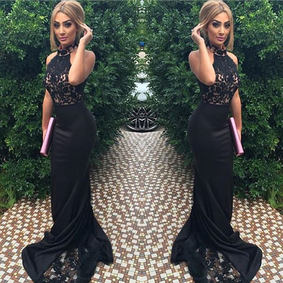 Prom Dresses 2017 Satin Black Long Mermaid Lace Train Lace Top ...