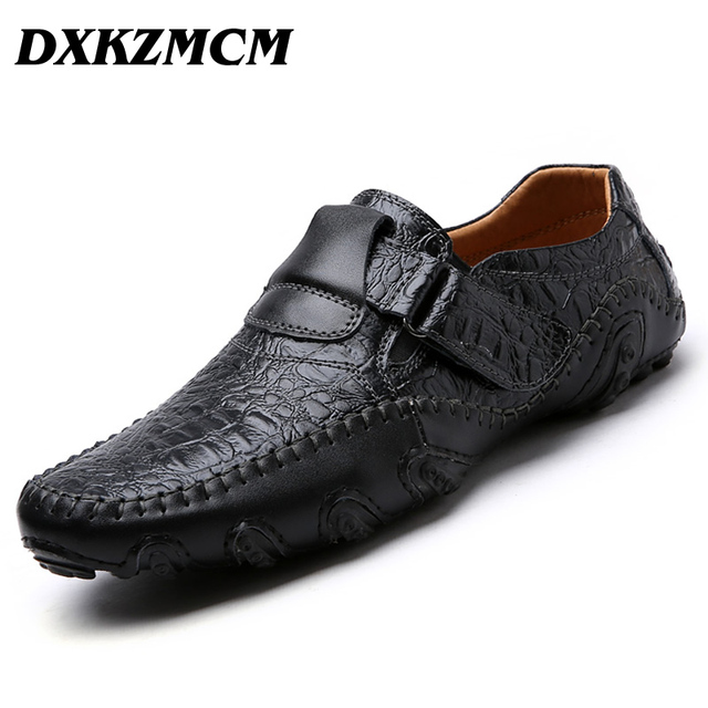 Kulit Asli Fashion Sepatu Kasual Pria Kulit Sapi Mengemudi Sepatu Handmade  SLIP ON Pria Sepatu dcf07be871