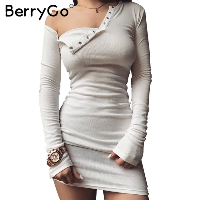 BerryGo Elegant one shoulder bodycon dress Slim long sleeve evening party club white dress Women autumn winter balck sexy dress