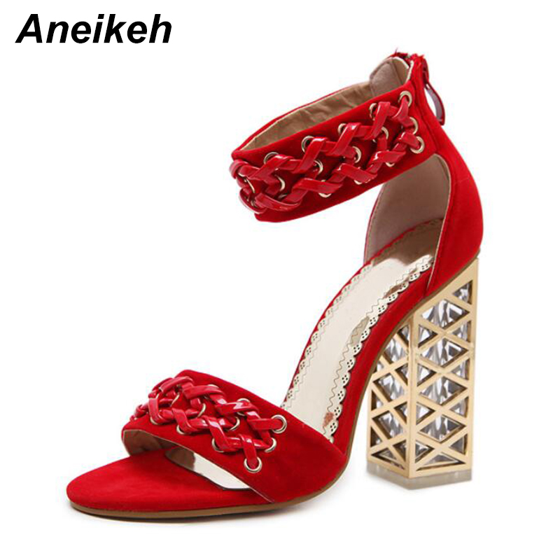 Aneikeh 2018 New Summer Sandals Fashion Roman Crystal With Zipper Women Pumps Shoes Sexy High Heels Party Woman Sandals Black 14cm thick with super high heels summer new sexy nightclub roman style fish head waterproof sandals women