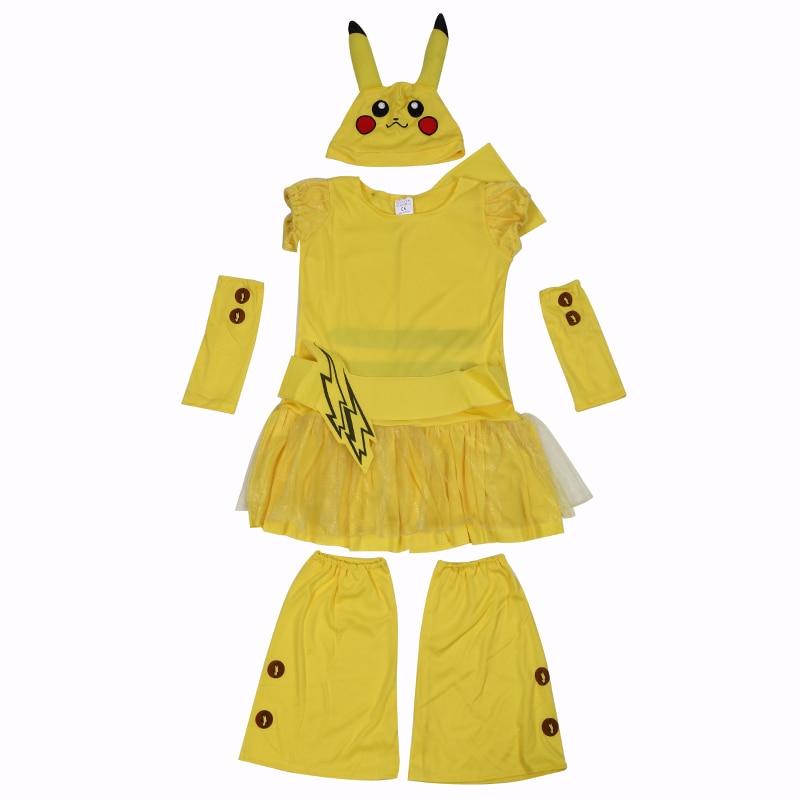 Little Girls Pikachu Pokemon Go Kostym Wagging Tail Halloween Kids - Maskeradkläder och utklädnad - Foto 2