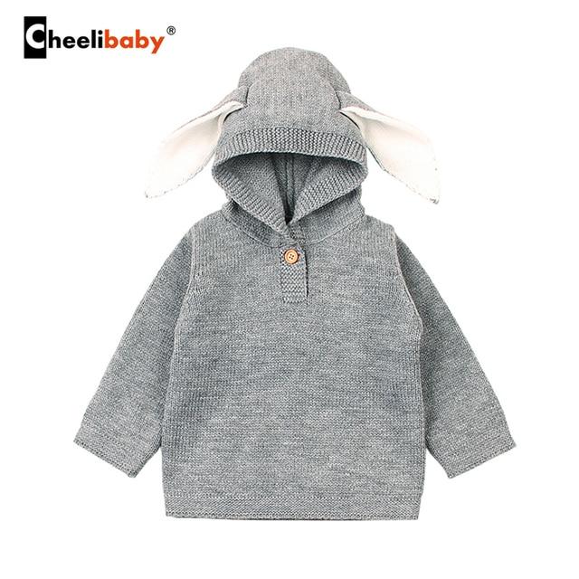 b7d2cb506 Spring Baby Boys Sweaters 3D Rabbit ear Cotton Pullover Kids Girls ...