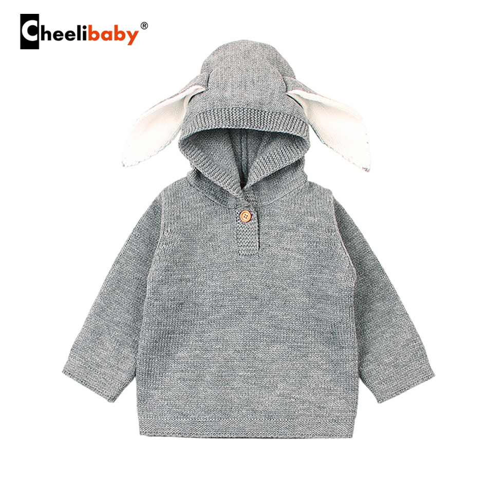 Spring Baby Boys Sweaters 3D Rabbit ear Cotton Pullover Kids Girls Knitted Sweater Bunny Jumpers Girls Boys Cardigan Wholesale
