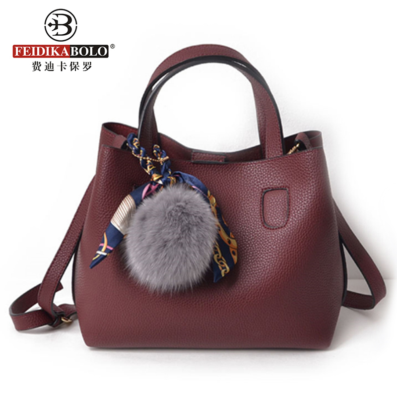 Fashion Bucket Handbags Fur Designer Women PU Leather Crossbody Bag For Women Scarves Tote Bags Women Messenger Bags Sac A Main