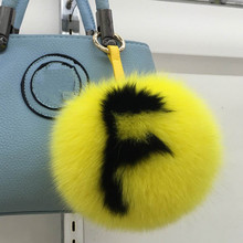 Custom 15cm Big Fluffy Bag Bugs Pompon Keychain luxury Alphabet Fox Fur Ball Pom pom Key Chain Backpack Bag Purse Charms Gift