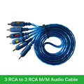 High Speed  Gold Plated 3 RCA to 3 RCA Male to Male Audio Video AV Cable for PC DVD TV Projector 1.5M