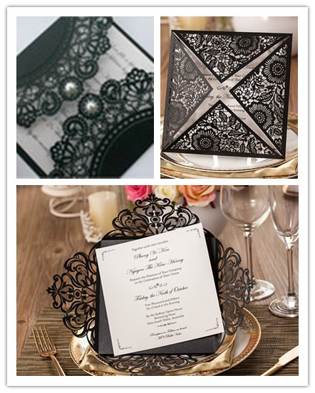 Invitation Card Sample For Wedding: 1 Set Sample Black Laser Cut Creative Wedding Party Event