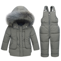 Children Winter White Duck Down Clothing Sets 2018 New Baby Girl Overalls Ski Snow Suit for Boys Kids Nature Fur Jacket+ Pants