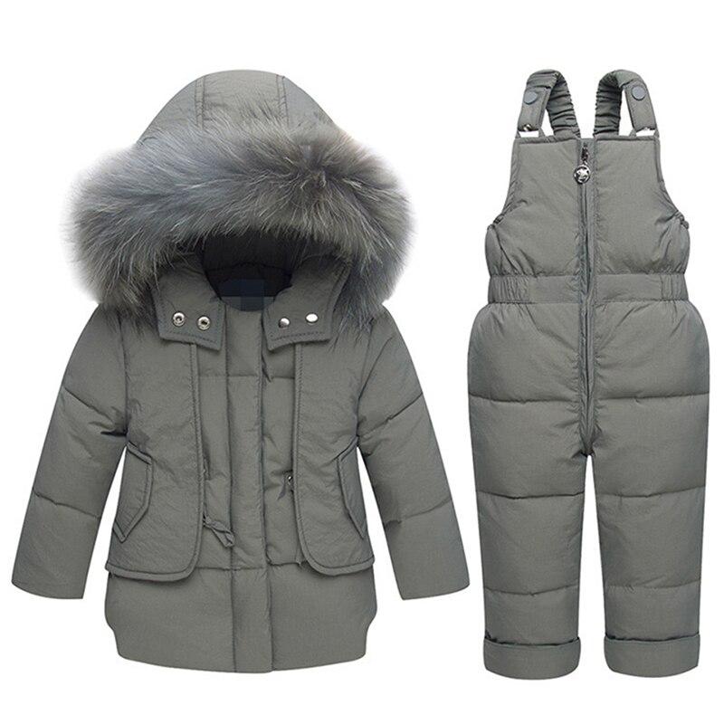 Enfants hiver blanc canard vers le bas vêtements ensembles 2018 nouveau bébé fille salopette Ski neige costume pour garçons enfants Nature fourrure veste + pantalon