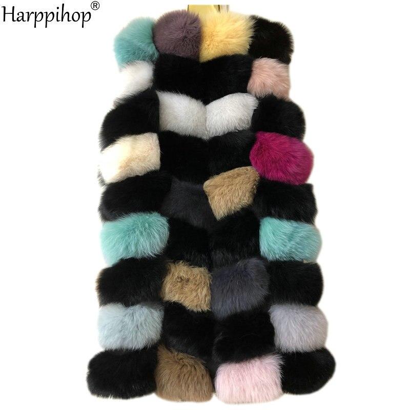 New Real Fox multi color fur Women Vest Leather Fashion Luxury Thick Warm Coat Jacket colorful  Fur Vests Women Coats