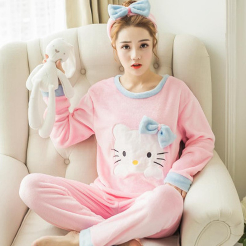 2 PIECE Pink Pajama Set Nightwear Pijama Home Suit Women Winter Warm Pyjama Cat Long Sleeve Winter Flannel Lingerie