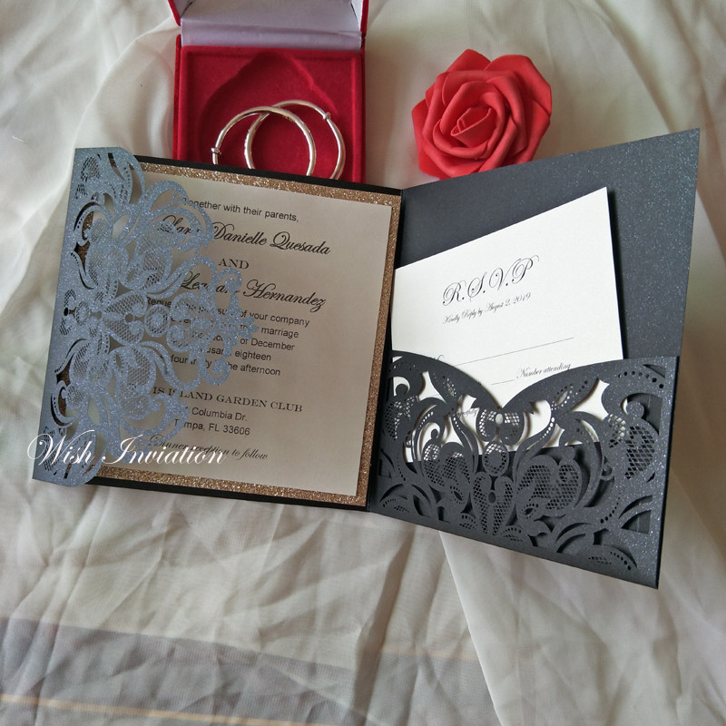 Trifold Laser Cut Pocket Wedding Invites 2019 Black Shimmy Birthday Party Invitation With RSVP Card FREE PRINTING