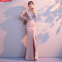 DongCMY 2019 New Formal Sexy V Neck Evening Dresses Long Party Vestido Sequined Dress