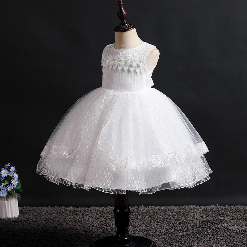 New Flower Girl Princess Romantic White Wedding Party Lace Dress Girls First Attend Dinner Party Art Photography Dresses