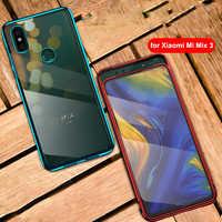 Pour Xiao mi mi x 3 étui 6.39 ''Transparent électrodéposition PC 360 couverture complète pour Xiao mi mi x3 antichoc liquide dur couverture Funda