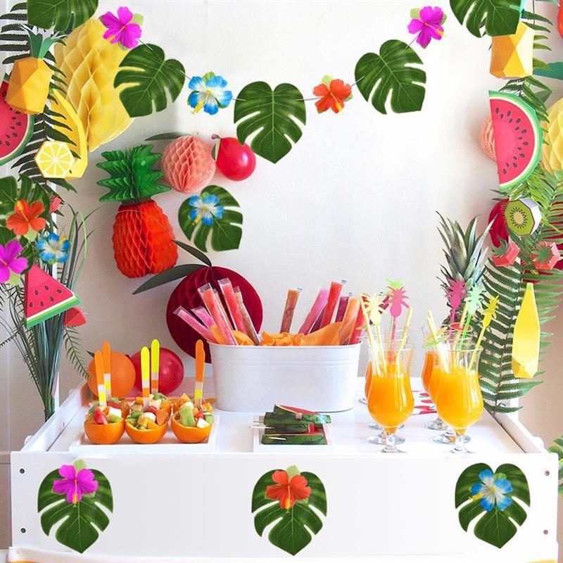 60 PCS Qualité Artificielle Feuilles De Palmier Tropical avec Fleurs Hawaï Luau Party BBQ Décoration Plage Thème De Mariage Décor de Table