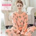 Mulheres quentes Sorriso Impressão Homewear Conjuntos de Pijama de Flanela Coral Fleece Sleepwear Mulheres Sleepwear Nighties Pijama de Flanela Macia 276