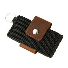 Elastic Minimalistisk Slim Plånbok med Nyckelring Cow Läder Kreditkort Hållare Män Mode Front Pocket Business Bank Kortinnehavare